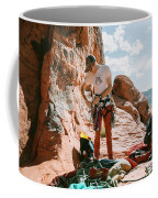 A Rock Climber Setting Up To Climb Coffee Mug