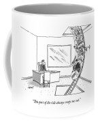 A Rollercoaster Passes Through A Ceo's Office Coffee Mug