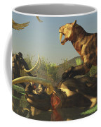 A Saber Tooth Cat Attacks A Woolly Coffee Mug