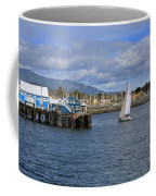 A Sailing Yacht Passes The Wharf In Sidney Harbour Coffee Mug