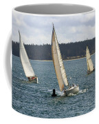 A Sailing Yacht Rounds A Buoy In A Close Sailing Race Coffee Mug