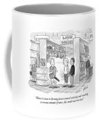 A Salesman Shows A Couple A Leaf Blower Coffee Mug by Tom Toro