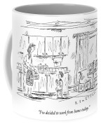A Schoolboy Speaks To His Mother In The Kitchen Coffee Mug