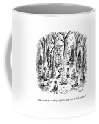 A Scout Leader Tells A Group Of Young Campers Coffee Mug by David Sipress