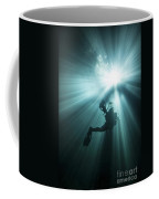 A Scuba Diver Ascends Into The Light Coffee Mug by Michael Wood