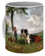 A Shepherdess With A Goat And Two Cows In A Meadow Coffee Mug