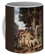 A Shepherdess With Her Flock Near A Stream Coffee Mug