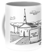 A Sign Reads Follow God On Twitter In Front Coffee Mug