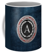 A - Silver Vintage Monogram On Blue Leather Coffee Mug