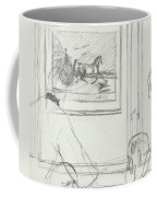 A Sketch Of A Horse Painting At A Bar Coffee Mug