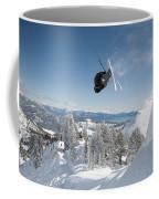 A Skier Doing A Front Flip Into Powder Coffee Mug