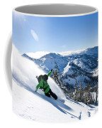 A Snowboarder Making Some Fresh Tracks Coffee Mug
