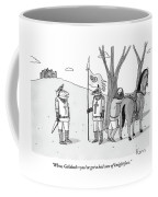 A Squire Looks At A Knight Whose Triangular Face Coffee Mug