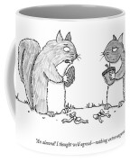 A Squirrel Couple Exchange Gifts Of An Acorn Coffee Mug