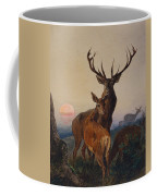 A Stag With Deer In A Wooded Landscape At Sunset Coffee Mug by Charles Jones
