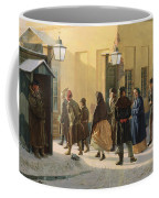 A Street Scene, Outside A Prison, 1868 Oil On Canvas Coffee Mug
