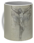 A Study Of Christ On The Cross With Two Coffee Mug
