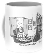 A Suited Man Behind A Desk Addresses A Writer Coffee Mug by Zachary Kanin