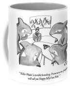A Suited Man Speaks To A Group Of Killer Whales Coffee Mug