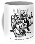 A Superhero Lays In A Chair Talking Coffee Mug