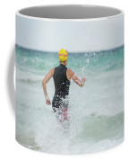 A Swimmer Running To The Ocean Coffee Mug