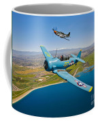 A T-6 Texan And P-51d Mustang In Flight Coffee Mug