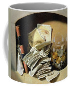 A Trompe Loeil Of Paper Money Coins Coffee Mug by French School