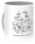 A Turtle Flying With A Flock Of Birds Turns Coffee Mug by Liam Walsh