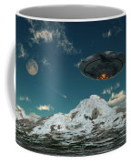 A Ufo Flying Over A Mountain Range Coffee Mug
