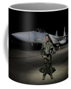 A U.s. Air Force Pilot Stands In Front Coffee Mug