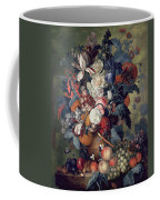 A Vase Of Flowers With Fruit Coffee Mug