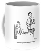 A Waiter Describes The Bottle Of Wine He Holds Coffee Mug by Zachary Kanin
