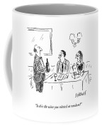 A Waiter Shows A Bottle Of Wine To Two Dinner Coffee Mug