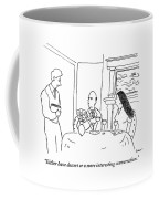 A Waiter Speaks To A Couple At A Table Coffee Mug