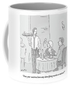 A Waiter Speaks To A Couple In A Restaurant Coffee Mug