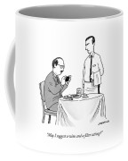 A Waiter Speaks To A Customer Who Is Taking Coffee Mug