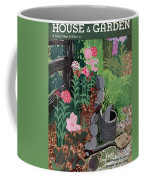 A Watering Can And A Shovel By A Flower Bed Coffee Mug
