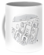 A Well-behaved Boy On An Airplane Wears A T-shirt Coffee Mug