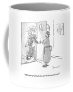 A Wife In Curlers And A Bathrobe Opens The Door Coffee Mug