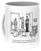 A Wife Talking To A Policeman In A Destroyed Coffee Mug