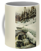 A Winter Landscape With A Mountain Torrent Coffee Mug