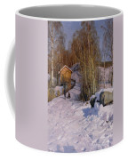A Winter Landscape With Children Sledging Coffee Mug by Peder Monsted