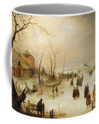 A Winter River Landscape With Figures On The Ice Coffee Mug