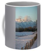 A Winter Scene Of A Snowy Field, Fence Coffee Mug