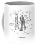 A Woman And A Man Walk Side By Side. The Man Coffee Mug