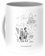 A Woman And Man Speak As They Walk Coffee Mug