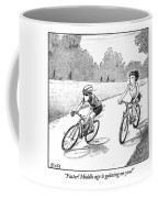 A Woman Casually Riding A Bicycle Addresses A Man Coffee Mug