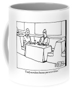 A Woman Chastising A Man At A Dinner Table Coffee Mug