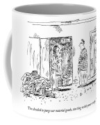 A Woman Cleans Out A Closet While Speaking Coffee Mug