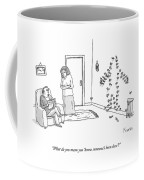 A Woman Confronts Her Husband About Knives Stuck Coffee Mug